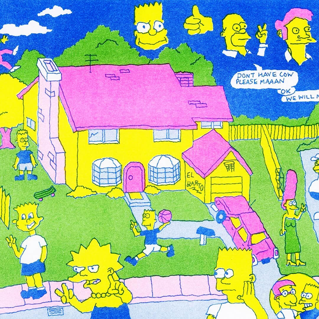 Bad Buzz Simpsons Risograph Print